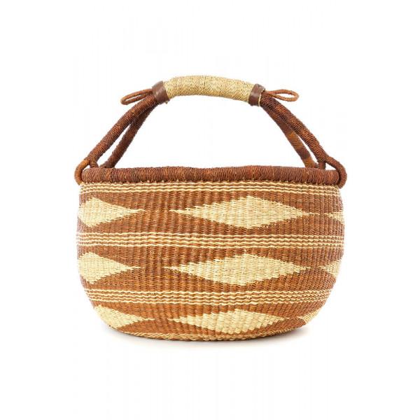 Caramel Diamond Handwoven Decorative Bolga Basket