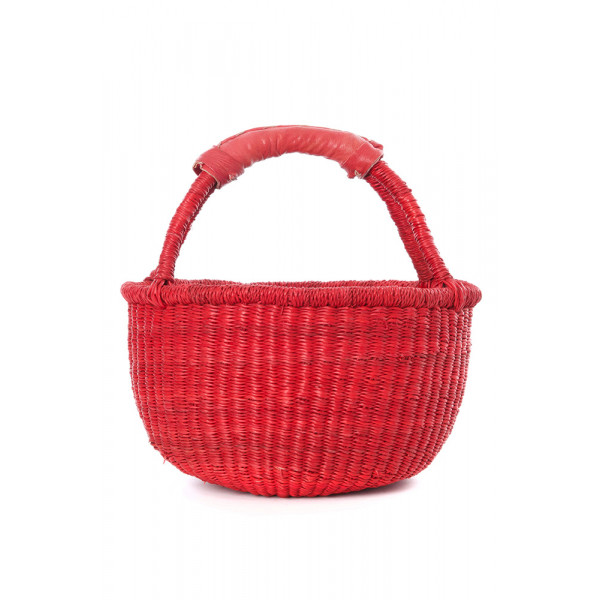Handmade Bolga Basket small - Red
