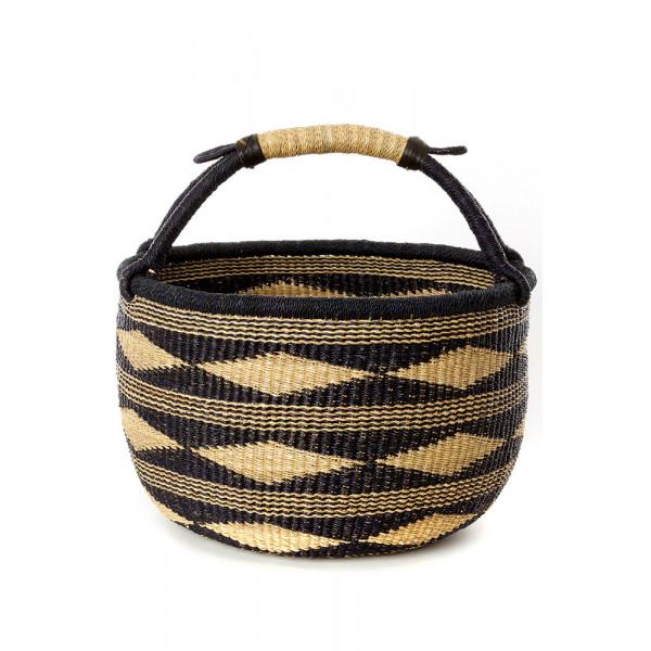 Handmade Bolga Basket - Midnight black