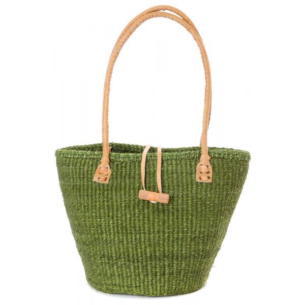 Classic Sisal and Leather Handbag in Green Hues