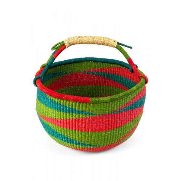Handmade Bolga Basket - red green