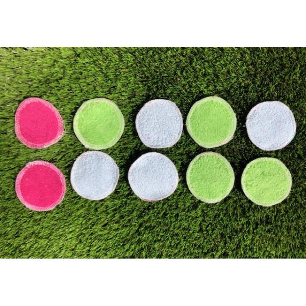 Washable make up remover pads in pink blue pocket 10pcs