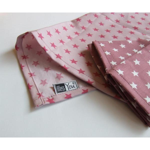 Handkerchiefs mauve stars Bless you, size S, 3 pcs...