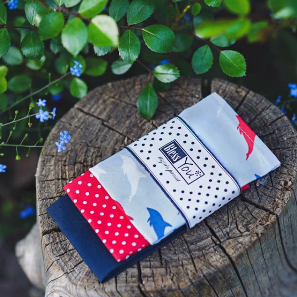 Handkerchiefs dolphin Bless you, size S, 3 pcs