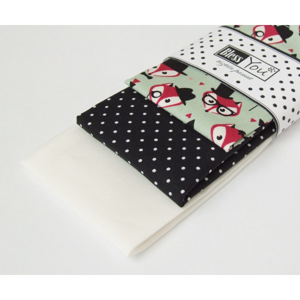 Handkerchiefs foxes Bless you, size S, 3 pcs