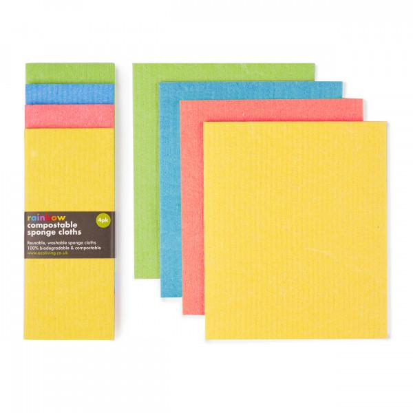 Compostable Sponge Cleaning Cloths - Rainbow set o...