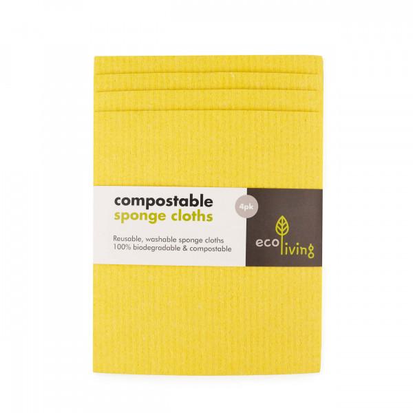 Compostable UK Sponge Cleaning Cloths 4 Pack