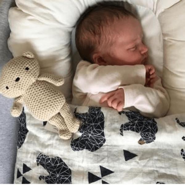 Organic cotton muslin swaddle blanket, bear