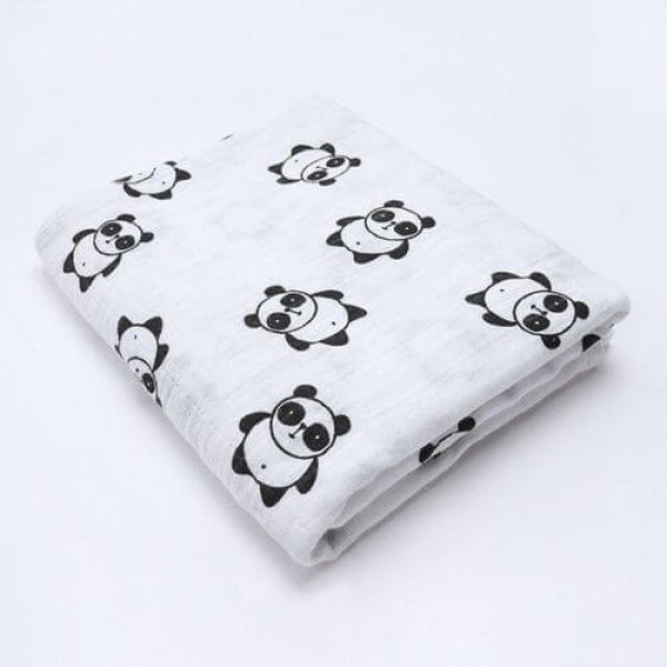 Organic cotton muslin swaddle blanket, panda