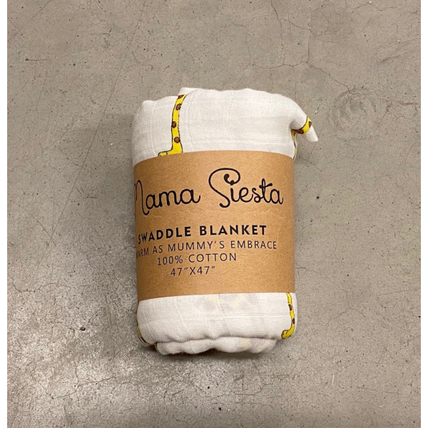 Organic cotton muslin swaddle blanket, giraffe