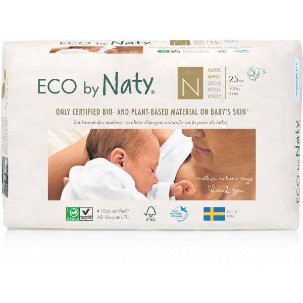 Eco by Naty® Size N Eco Nappies For Newborn Babie...