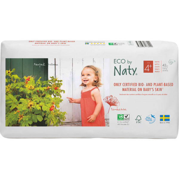 Eco by Naty Size 4 Plus Eco Nappies For Babies 9-2...