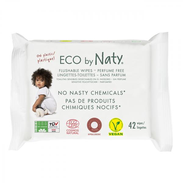 Naty Eco Wipes - Flushable, 42 pcs