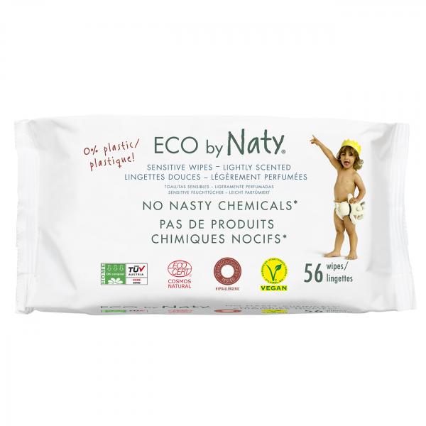 Naty lightly scented sensitive wipes, 56 pcs